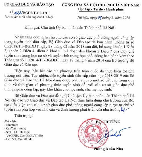 Bộ GD&ĐT đề nghị Hà Nội điều chỉnh một số bất cập trong tuyển sinh đầu cấp - Ảnh minh hoạ 2
