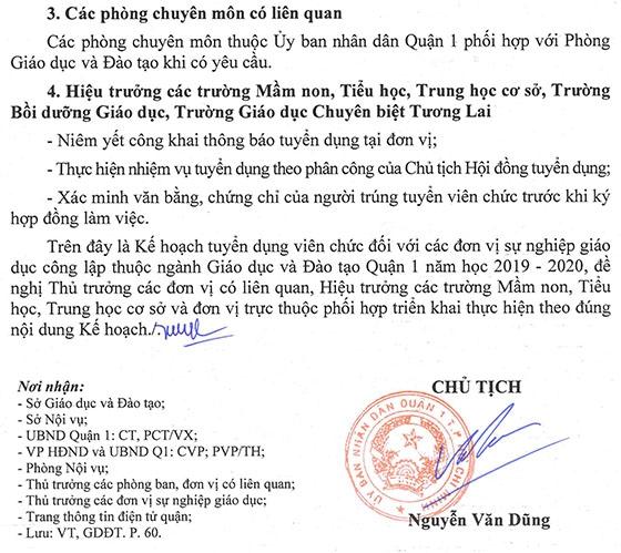 UBND Quận 1, TP.Hồ Chí Minh tuyển dụng viên chức giáo dục năm học 2019 – 2020 - Ảnh minh hoạ 20