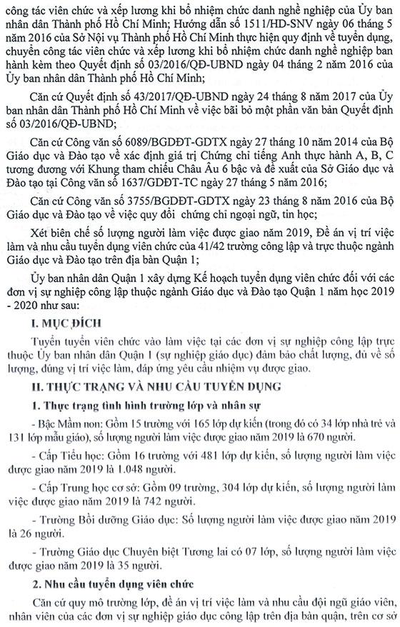 UBND Quận 1, TP.Hồ Chí Minh tuyển dụng viên chức giáo dục năm học 2019 – 2020 - Ảnh minh hoạ 3