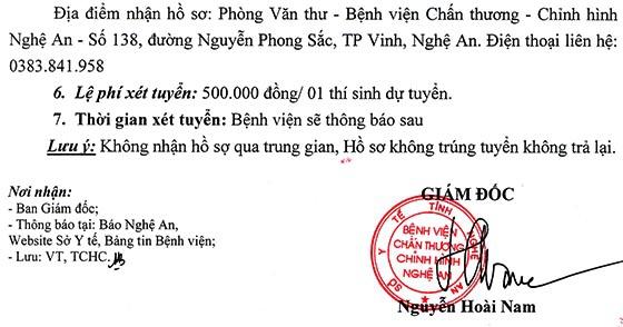 Bệnh viện Chấn thương chỉnh hình, tỉnh Nghệ An tuyển dụng viên chức năm 2020